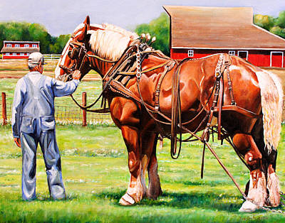 Barn Landscape Painting - Old Timers by Toni Grote