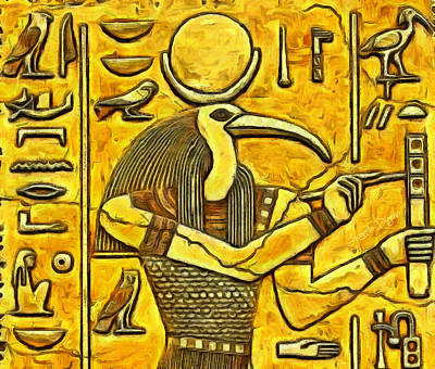 Hieroglyphs Painting - Old Times by Leonardo Digenio