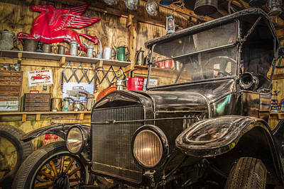1923 Ford Model T Photograph - Old Timey Garage by Debra and Dave Vanderlaan