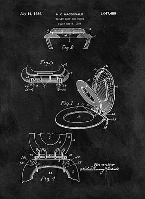 Urinal Drawing - Old Toilet Seat Patent by Dan Sproul