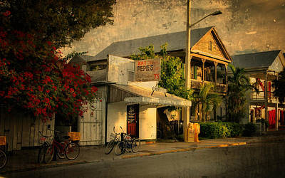 Cafes Photograph - Old Town -  Key West Florida by Thomas Schoeller