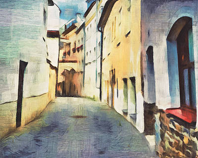 Building Exterior Digital Art - Old Town Streets by Yury Malkov