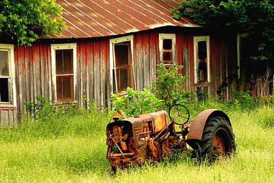 Old Tractor Print by Iris Greenwell