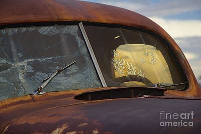Salvage Photograph - Old Truck Windshield by Anthony Jones