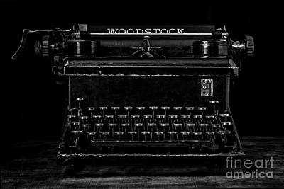 Old Typewriter Black And White Low Key Fine Art Photography Print by Edward Fielding