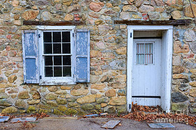 Old Village Door And Window With Blue Shutters Print by Paul Ward