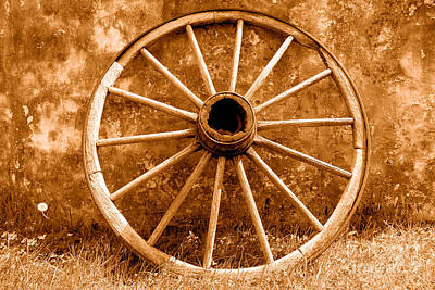 Conestoga Photograph - Old Wagon Wheel - Sepia by Olivier Le Queinec