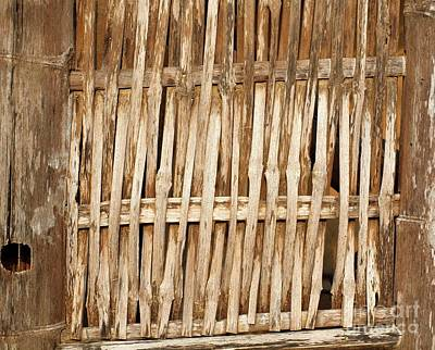 Bamboo House Photograph - Old Wall Made From Bamboo Slats by Yali Shi
