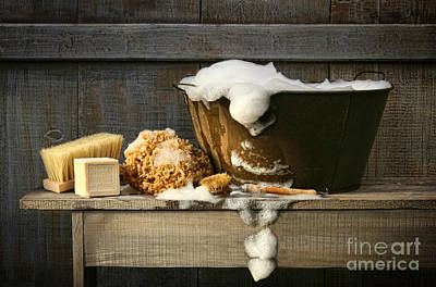 Old Wash Tub With Soap On Bench Print by Sandra Cunningham