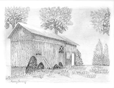 Old Barn Drawing - Old Weathered Barn by Kerry Facey