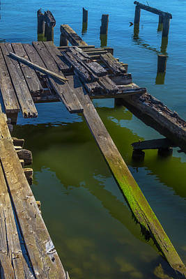 Old Weathered Dock Print by Garry Gay
