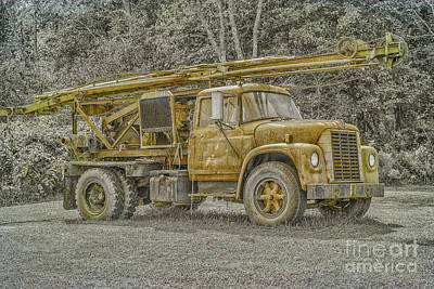 Old Well Drilling Truck Sepia Print by Randy Steele