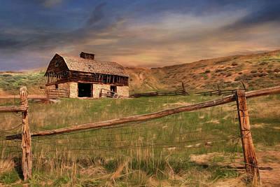 Dilapidated Digital Art - Old Western Barn by Lori Deiter