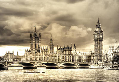 Gold Tone Photograph - Old Westminster In London by Vicki Jauron