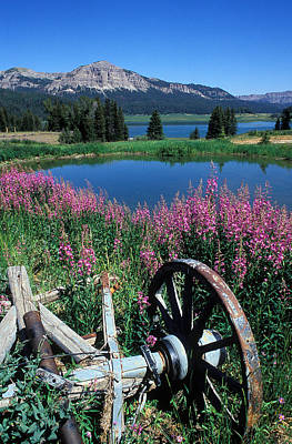 Old Wheel And Brooks Lake Print by Kathy Yates