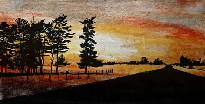 Old Windbreak Print by R Kyllo