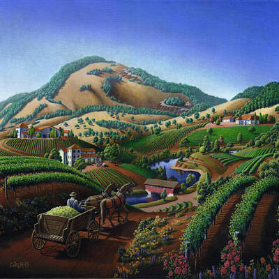 Old Wine Country Landscape Painting - Worker Delivering Grape To The Winery -square Format Image Original by Walt Curlee