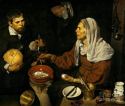 Old Painting - Old Woman Frying Eggs  by Celestial Images
