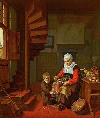 Painting - Old Woman Plucking A Cock by Abraham de Pape