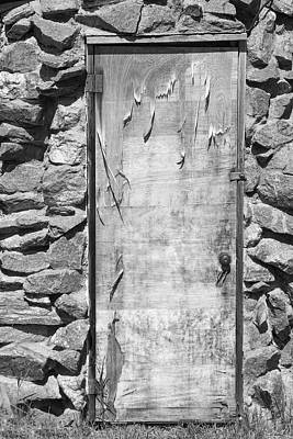 Galleries On Line Photograph - Old Wood Door  And Stone - Vertical Bw by James BO  Insogna