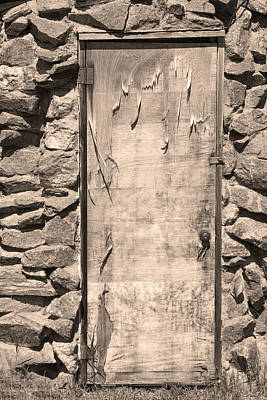 Galleries On Line Photograph - Old Wood Door  And Stone - Vertical Sepia Bw by James BO  Insogna