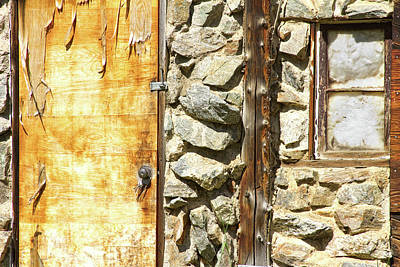 Commercial Photograph - Old Wood Door Window And Stone by James BO  Insogna