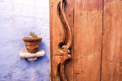 Old Wooden Door In Arequipa Print by Jess Kraft