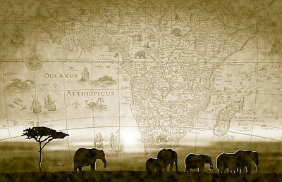 Old World Africa Antique Sunset Print by Dana Bennett