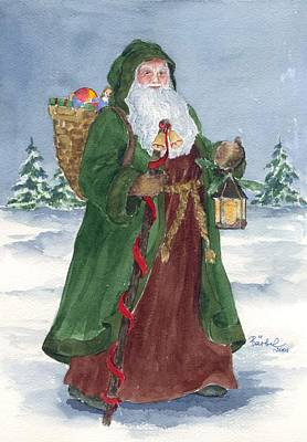 Spruce Painting - Old World Father Christmas by Barbel Amos