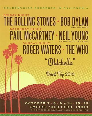 Neil Young Drawing - Oldchella Desert Trip Play List by Desiderata Gallery