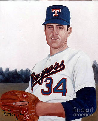Nolan Ryan Painting - Older Nolan Ryan With The Texas Rangers by Rosario Piazza
