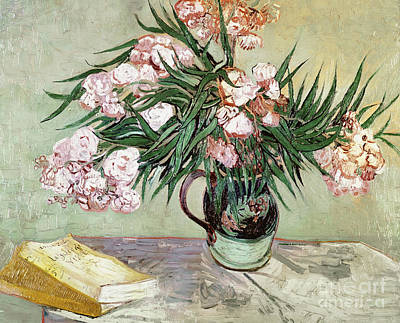 Netherlands Painting - Oleanders And Books by Vincent van Gogh