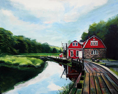 Boathouses Painting - Ole's Boathouse In Riverside Connecticut by Colleen Proppe