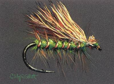 Fly Fishing Painting - Olive Elk Hair Caddis by Cindy Gillett