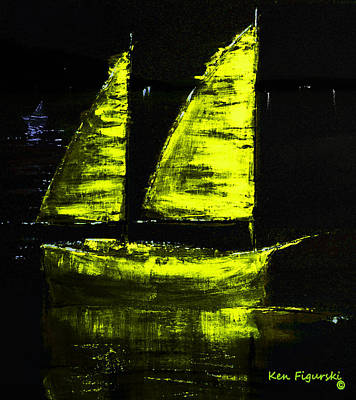 Moon Painting - Olive Sail Night Crop by Ken Figurski