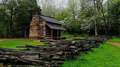Log Cabins Photograph - Oliver's Cabin Among The Dogwood Of The Great Smoky Mountains National Park by Carol R Montoya
