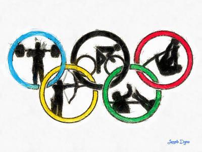Olympic Games Symbol - Pa Print by Leonardo Digenio