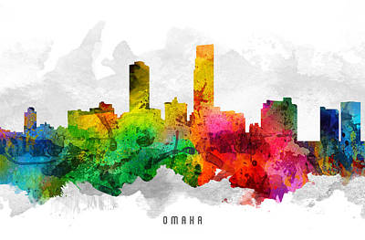 Omaha Nebraska Cityscape 12 Print by Aged Pixel