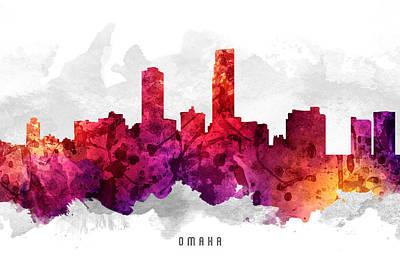 Towns Digital Art - Omaha Nebraska Cityscape 14 by Aged Pixel