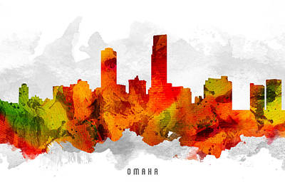 Omaha Nebraska Cityscape 15 Print by Aged Pixel