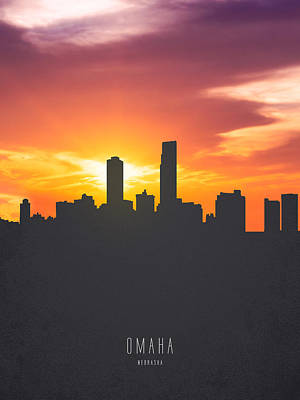 Omaha Nebraska Sunset Skyline 01 Print by Aged Pixel