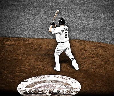Omar Quintanilla Pro Baseball Player Original by Marilyn Hunt