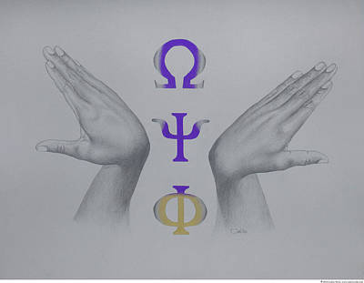 Omega Psi Phi Drawing - Omega Hooks by Cedric Wells