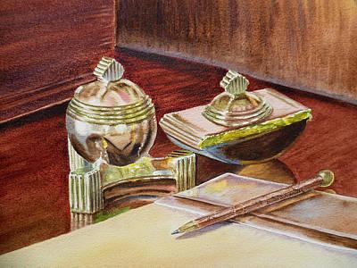 On A Desk At Eugene O Neill Tao House Print by Irina Sztukowski