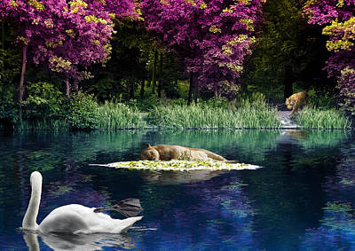 Swan Digital Art - On A Lake by Svetlana Sewell