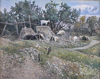 Sheep Painting - On A Pedestal by Andrey Soldatenko