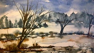 Wet Into Wet Watercolor Painting - On A Winters Day by Eunice Miller