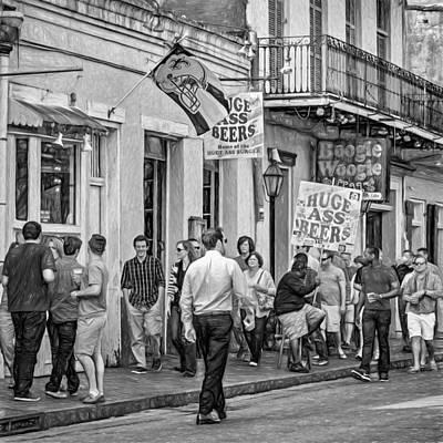 On Bourbon Street - Paint Bw Print by Steve Harrington