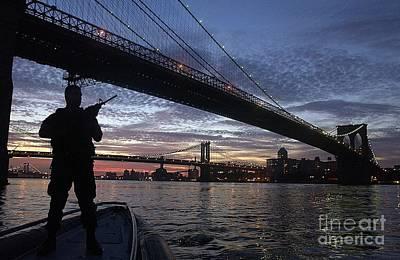 Brooklyn Bridge Painting - On Duty By Brooklyn Bridge New York by Celestial Images