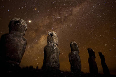 On Easter Island, Mysterious Statues Print by Stephen Alvarez